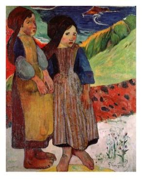 paul-gauguin-little-breton-girls-by-the-sea-1889-oil-on-canvas